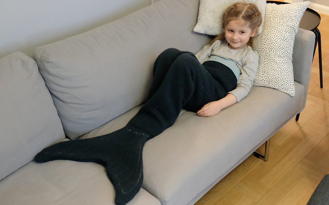 Matching mermaid tail blankets for kids and dolls